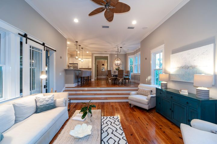Beautiful heart pine floors throughout lower level.