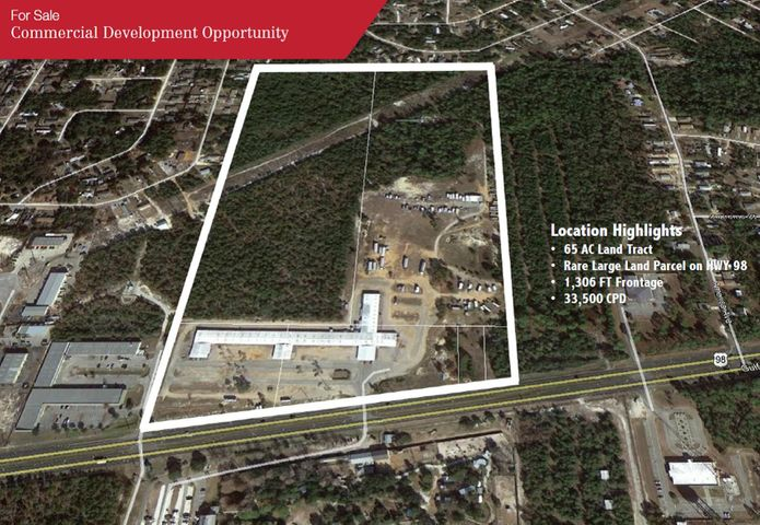 65 AC Bulk Commercial Development Property on HWY 98 in Gulf Breeze FL. Property currently serves as the Gulf Breeze Flea Market. It has great visibility, two decel lanes and a median cut in place. Six parcels assimilated to create a 65 AC tract with 1,306 FT of Frontage on HWY 98 and a depth of 2,307 FT. PID 20 2S 27 0000 02202 0000 4.411 AC PID 20 2S 27 0000 02203 0000 5.9559 AC PID 20 2S 27 0000 02100 0000 26.9 AC PID 20 2S 27 0000 02101 0000 27.37 AC PID 20 2S 27 0000 02204 0000 0.68 AC PID 20 2S 27 0000 02205 0000 0.68 AC