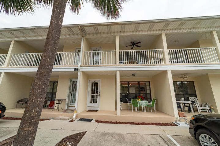 SW-E-E-E-T! Ground floor 1 bedroom, with bunks floor plan. This unit comes rental ready. Furnished fun and ''beachy''! There is so much to love about Horizon South! This unique gated beach community stretches from Back Beach Road to Front Beach Road. The sought after Horizon South complex is known for it's 'very close' and easy direct beach access, multiple pools, tennis courts, shuffle board, mini golf, basketball courts, exercise room, community room and hot tub. All these great amenities are attractive for renters and owners alike! The HOA fees are certainly reasonable with all the extras. Awesome opportunity! Come and take a look!