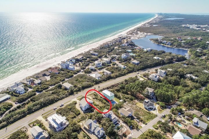 Here is your chance to own right on 30-A with incredible Gulf views!! This is the perfect lot for an investor or for someone to build their perfect beach home with views that are unmatched. The iconic 30-A is world renown for the beautiful white sand beaches, emerald green waters, fine dining, upscale shopping, and incredible nature trails. THE premiere location on the Emerald Coast, this lot is located on the lower density western end of 30-A with endless possibilities.  Local amenities include state parks, biking and walking paths and beach accesses within a short walk away. Gulf Place is just a short bike ride or golf cart away as well with dining, shopping, and seasonal events like the world famous 30-A Songwriters Festival. Completed set of house plans available upon request. Don't miss your opportunity to build your dream beach house in one of the most sought after locations on the Gulf