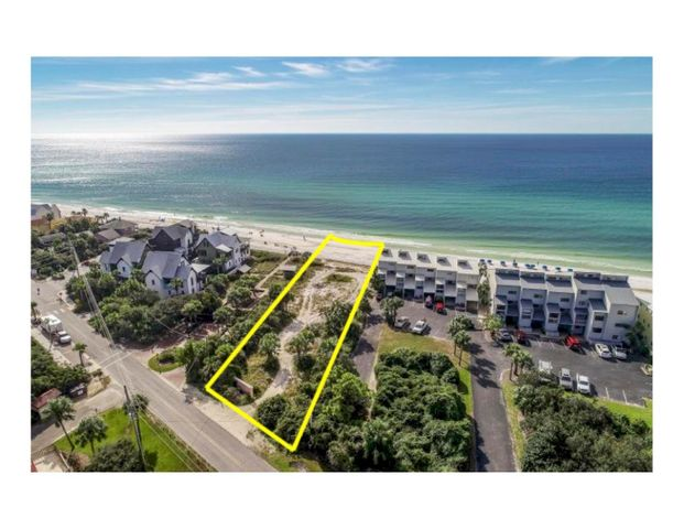Almost 1 acre on the Gulf in Blue Mountain Beach just off Scenic 30A. Approximately 77 feet of Beach frontage, zoned Neighborhood Infill. One of the only Beach Front Development opportunities available along 30A (3 or more units potential). Also has potential as a large residential retreat of more than one home.