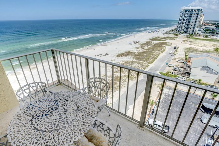 Unique to complex - 3 bed/2 bath remodeled to a 2 bed/2 bath.  Added glass so the balcony is surrounded with windows and may be the best view here.  See sand, waves and the gulf from everywhere in the unit except the bedrooms and baths.  On a clear day you can see to State Rd. 30A.  West side setting to watch the beautiful sunsets.  Open concept with lovely seating areas and very nice furniture.  Porcelain tile floors through out.  Enlarged bathrooms, the first with Bain Ultra therapeutic massage tub, dressing table, wall hair dryer and a towel warmer.  The second with a large walk in shower, dressing table and 2 tall storage cabinets with soft close drawers.  The kitchen has an induction glass top electric cook stove.  The master bedroom furniture does not stay with unit.