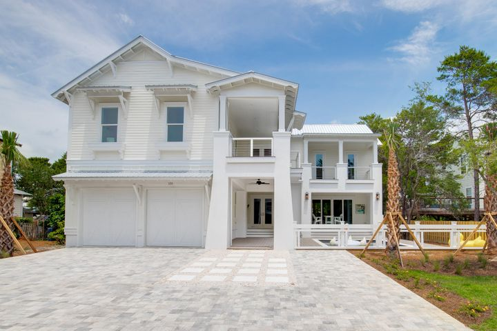 Brand New and SOUTH of 30A. Just STEPS to the beach, this beautiful 6br home features almost 4000 sf of heated and cooled space,  You will notice the distinctive architecture the minute you arrive. The towering vestibule provides entry to the courtyard swimming oasis which is surrounded by large decks and patios. Inside, you will find an open floorplan with an amazing kitchen adorned with quartz countertops, 42 inch gas range, wine cooler, ice maker, and more. There is a downstairs master and extra bedroom on the main level. The upstairs features four additional suites, breakfast kitchen and separate sitting area. Schedule your exclusive showing today!