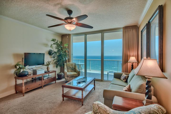 Gulf front opportunity at Palazzo, a premier luxury resort on the west end of Panama City Beach! This is a fully furnished 2-bedroom, 2-bath Gulf front condo with a bunk room and Gulf front master bedroom! Floor to ceiling windows and doors offer incredible views of the Gulf and pristine beach below. The oversized balcony is great for relaxing while listening to the waves and enjoying breathtaking views of the sugar-white sand beach and emerald green waters of the Gulf. Tile floors extend throughout the entry, kitchen and bathrooms. The charming kitchen is accented with recessed lighting, granite counters and updated with stainless steel appliances. The open floor plan makes dining, entertaining and relaxing easy. The dining area easily seats 6 with additional seating available at the bar. Master bedroom is Gulf front with direct access to the private balcony and offers a walk-in closet and ensuite bathroom with tile floors, double vanity, Jacuzzi tub and walk-in shower. Bedroom is nicely appointed with a king bed and flat screen TV. There is a spacious guest bedroom, bunk room and two additional baths. There is a full size washer & dryer for convenience. This is currently and income producing rental unit and the best price 2-bedroom at Palazzo. Turn key and a fantastic investment.   Palazzo amenities include elevated Gulf front pool, hot tub, complimentary beach service (Mar-Oct), fitness facility, and meeting room. At Palazzo you are on the desirable West End of Panama City Beach, 1 mile from Pier Park shopping center and less than 20 minutes from the Panama City Beach International Airport. Unlike the competition, Palazzo is a low-density building consisting of only 129 direct Gulf Front units and has four levels of covered Gulf Front parking under the building - no need for massive parking garages with elevated walkways across the street. Do not miss out on this incredible opportunity to own an upgraded unit at one of the finest condominiums in Panama City Beach! Unit #1606 truly is the perfect second home, full time residence, or vacation rental.