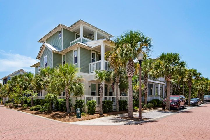 Welcome to your 30a beach home!  This beautiful never rented home shows like new and boasts multiple porches on every level.  The first level features an open and spacious living/dining area with ample room for entertaining family and friends.  The kitchen is wonderfully equipped with Decor appliances, granite counters, white cabinetry, breakfast bar, and pantry.  There is a first floor guest suite with bath as well as a powder room.  The second level is home to another spacious guest suite with private porch and bath as well as a large bunk room with four custom built in bunks, custom bedding, TV for the kids, ensuite bath, and two closets.  Just down the hall is a laundry room with cabinets and unique river rock floor.  A beautiful, spacious master suite completes the second level. The master bedroom is a true private retreat with it's own covered porch, sitting area, built-in bureau, and bath with garden tub, large shower, and double vanities.  The third level boasts another full bath, bedroom, bonus room with wet bar, cabinetry, and dishwasher, and two more porches!  This exceptional home will comfortably sleep 12 or more and is perfect for a family retreat or vacation rental.  The entire home has high end finishes, custom blinds and drapery, wood and travertine flooring, and is beautifully furnished.  The entire exterior was just recently painted including all trim and decking.  The home sits on a corner lot with two private parking spaces and storage building for beach toys and bikes.  Residents of Seacrest Beach enjoy access to the resort-style Seacrest Beach pool and tram service to deeded beach access through Sunset Beach.  Walk or bike to the shops and restaurants of Alys and Rosemary Beach.  Welcome to the beach life!