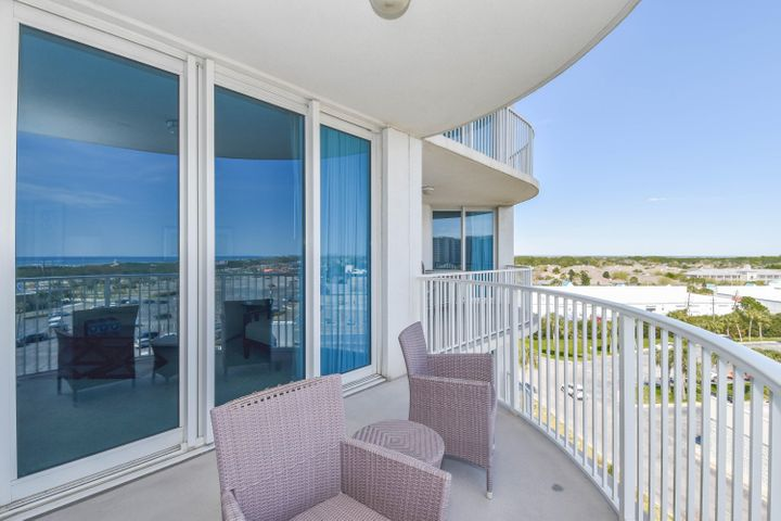This 7th floor, east facing, junior two-bedroom condo offers views overlooking  the Gulf of Mexico and Henderson Beach State Park. It has an open concept living and dining area, as well as an expansive and inviting balcony just perfect for taking in the gulf views. Enjoy the many onsite amenities, including a lushly landscaped pool area boasting Destin's largest lagoon pool with waterfall features, a kiddie pool, hot tub, and splash pad, as well as a playground, fitness center, and tennis and basketball courts. Also, an on-site restaurant offering lunch, dinner, room service and even in-season poolside service has been recently added. Want your toes in the sand? The resort offers complimentary shuttle service to the beach for you to enjoy Destin's world famous sugar-white sand and emerald-colored water beaches. Shuttle service takes you to the June White Decker Public Beach access which is just minutes away. Another benefit to owning in the Palms of Destin is the ease of ownership:  All utilities are included in the HOA dues  water, sewer, electric, cable, Wi-Fi, phone and trash! This is an excellent opportunity for a vacation rental, secondary or primary home  no long-term rentals are allowed. The Palms of Destin Resort and Conference Center offers the best in Destin vacation rentals and event space at an affordable price! Located on 15 beautiful acres, in the heart of Destin close to premier shops, nightlife, events, family and fine dining. Owner pets are welcome.