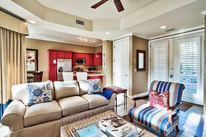 Beautifully furnished living area and open floor plan.