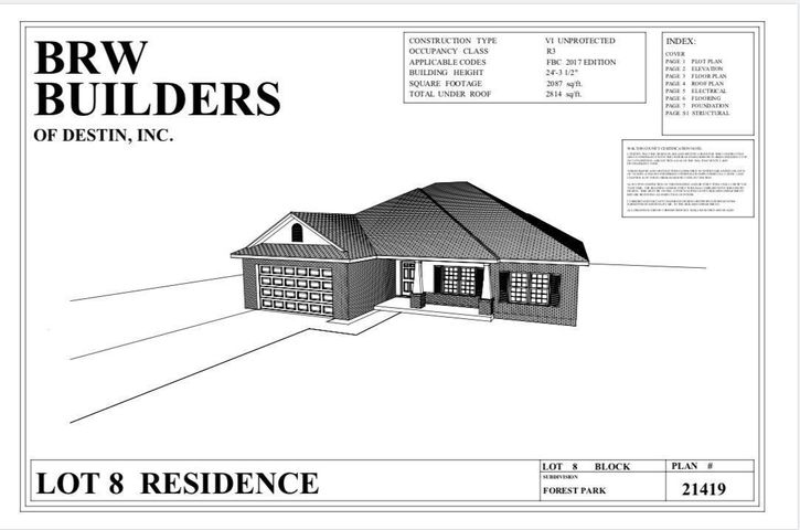 **Construction has not begun**  Home will be a quality BRW Builders Home.  Located on quiet road with cul de sac.  Home will feature 3 spacious bedrooms, 2 full-sized bathrooms and beautiful master suite and bath. Open-concept to feature kitchen into living room with separate dining area and covered lanai for your backyard cook outs. Walk-in laundry area, spacious pantry and utility closet. Excellent proximity to US Hwy 98, shopping, local area restaurants, attractions and the Emerald Coast's beautiful beaches.