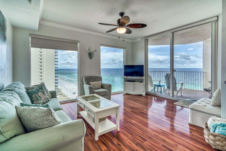 Awesome Tidewater One Bedroom / One Bathroom Corner Condo with STORAGE!  This is as good of a price as you can find anywhere near Pier Park at $269,900.  These condos are proven rental producers and offer a unique perspective on Panama City Beach with great views of the BEACH, Pier Park, City Pier, Aaron Bessant Park and Frank Brown Park. This condo comes with a storage unit outside on the same floor and close by. This unit offers One bedroom with king bed, One Bathroom, Bunks in the hallway, Sleeper Sofa, Dining for 6, Balcony with great views, Stackable washer/dryer in unit, New HVAC, No carpet, Sold fully furnished and ready to go! Tidewater Beach Resort offers one of the best locations in town with close proximity to Pier Park Mall, Frank Brown Park, and the International Airport (ECP)! You can't go wrong with Tidewater amenities including 2 outdoor gulf front pools, 1 indoor heated pool, game rooms, restaurant, tiki bar, a convenience store, a huge beach front fitness center, movie theater, 4 hot tubs, saunas, steam rooms, conference room, covered parking, a computer lounge, library/game area and a beautiful owners lounge on the 30th floor.
