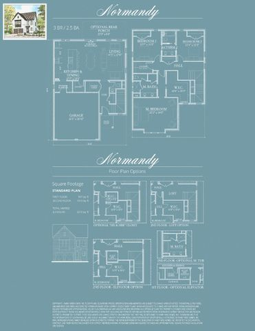 The Normandy floor plan has three bedrooms and two and one half bathrooms.