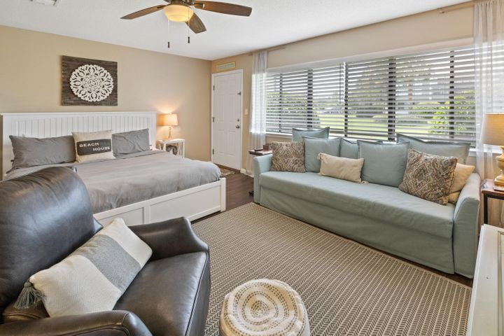 Low-cost of ownership getaway for you and your honey! Furnished with coastal touches throughout, a fully equipped kitchen, pullout sofa, king bed, art and bunks. Toes in the Sand plunges you into the middle of the best dining, unique boutique shopping, bike paths and some of the most challenging golf courses the gulf coast has to offer. Easy access to Hwy 98, allowing you to explore the nearby cities of Destin or Panama City Beach, as well as, the Northwest Florida Beaches International Airport. Sleeps 6. A new roof was installed in 2016, exterior painted 2018 and new windows.