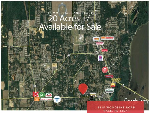 20 AC HCD land tract ready for development! Surrounded by new and developing residential. Available utilities: electric, water, sewer and cable. Pace, FL has experienced exponential growth and has evolved from a small rural community to a thriving suburb of Pensacola.