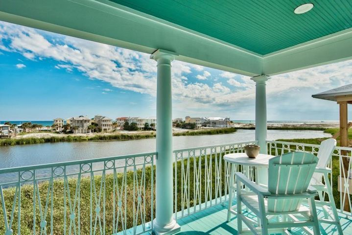 The most unique location in Destin! Overlooking a rare coastal lake with spectacular views of the Gulf of Mexico & Jetties, this charming beach cottage was designed by renowned architect Lloyd Vogt. ''Cool Change'' features an open concept with high ceilings and covered balconies off of every room to enjoy the coastal breezes and beautiful sunsets. Fresh updates include new Kitchen and bathroom counters, interior and exterior painted, and high impact windows have been installed throughout the home. Destin Pointe offers the unique ability to enjoy the peaceful waves on the 2,500 + feet of deeded beach access or view the passing boats from Destin Harbor through East Pass. The community also features gated access, 24 hour security, 2 large pools (1 heated), a hot tub, lighted tennis 2 lakes, tram and beach service. Offered fully furnished.