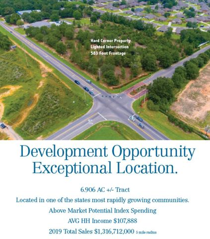 Perfect timing for commercial retail development. Prime location on the corner of Berryhill Road and King George Parkway with great accessibility for the numerous new and existing subdivisions in North Pace. The community of Pace is a vibrant area that has become a premier choice for residency in northwest Florida. 6.906 Acres - All required utilities are available to the site. Site conditions relative to topography, soils and visibility are ideal. The essential traffic signal at the intersection of Berryhill and King George Parkway are in place. *Perfect opportunity for restaurant, bank, or retail development. *Land Size- 6.906 AC +/- *Frontage- 583.16'*Dimensions- 583.16 x 248 x 588 x 500 ' *Decel in place *Lighted Intersection *Hard Corner