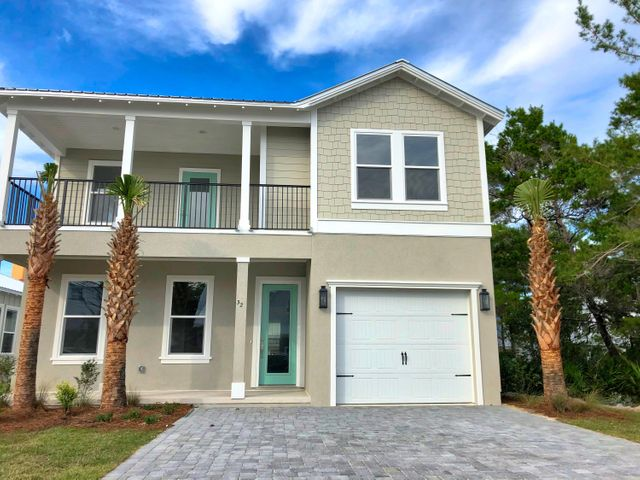 Brand New Beach Villa with Beach Access! Modern, open concept with a massive granite island in the kitchen. MASTER DOWN. Two covered porches and a Balcony upstairs with access from two different bedrooms. High quality finishes in the heart of Frangista Beach just steps away from the most beautiful beaches in the U.S.A. Brand new home with builders warranty, low HOA dues, flood zone X, metal roof, and hurricane windows. Buy new and skip the headache. Home under construction. Last picture is finishes and colors.