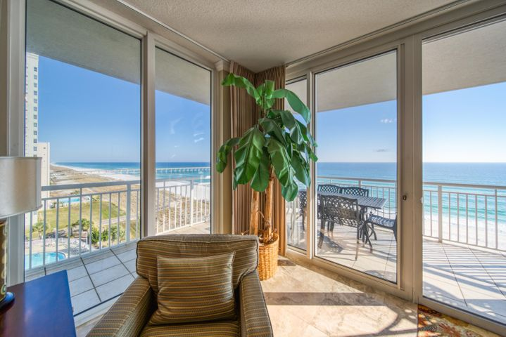 701 is a corner unit with views all the way down the shoreline