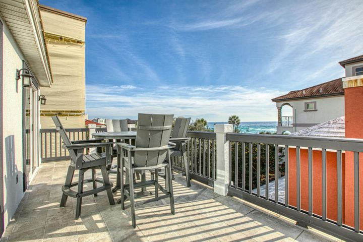 This newly renovated and beautifully furnished home is perfectly situated directly on 30A with Gulf views and a path directly to the beach! The first floor features a living, dining and kitchen with large sliding doors leading out to the pool and patio area, perfect for entertaining! There is also a bonus bunk room with en-suite. The second floor is the main floor and has an open living, dining and kitchen area which overlooks the spacious balcony. You will also find the first bedroom on the second floor overlooking 30A. The third floor features two Master bedrooms with en-suites, both of which walk onto a large balcony with Gulf views. The 4rd bedroom is on the street side of the third floor. Walking distance to the beach, restuarants and fun, you will not want to miss this home!