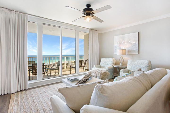 """Tranquil gulf views embrace you from the moment you step into this gorgeous condominium residence. Recently renovated throughout, this designer furnished residence beautifully blends old Florida style with modern coastal chic. The color pallet and decor features soft hues of blues, grays, greens and beige alongside natural wood tones and soft patina finishes, reminiscent of a casual day on the beach, yet offering refined elegance. Renovations include all new flooring, stunning quartz countertops, beadboard accents, custom tile surrounds and statement lighting fixtures. Relax, refresh and rejuvenate as you soak up the expansive coastline views from the large, private balcony, as well as from nearly every interior room. With its open and inviting living, dining and kitchen, three spacious and luxuriously appointed bedrooms, and three full baths, this residence affords the utmost in gracious resort living along the Gulf.  As an added bonus, 1602 comes with a deeded private parking spot in the front row, just as you exit the elevator for optimal access and convenience. One Beach Club owners also have access to membership to the exclusive Beach Club, as well as the amenities of the building which includes: fitness center, media/theater room, community pool, beach access, covered parking and grand lobby/meeting area.  As an introduction to the Sandestin lifestyle, we invite our new owners to explore amenities that make Sandestin special. The listing brokerage and seller(s) are presenting the buyer(s) of this property with (2) 90-minute rounds of Tennis court time, a golf foursome at one of our three championship courses, a round of golf for up to four (4) players and an invitation to """"Club Night"""" at the unrivaled Burnt Pine Golf Club.  Sandestin Golf and Beach Resort is a major destination for all seasons and all ages, and has been named the #1 resort on Florida's Emerald Coast. This magical resort spanning over 2,000 acres is comprised of over 70 unique neighborhoods of """