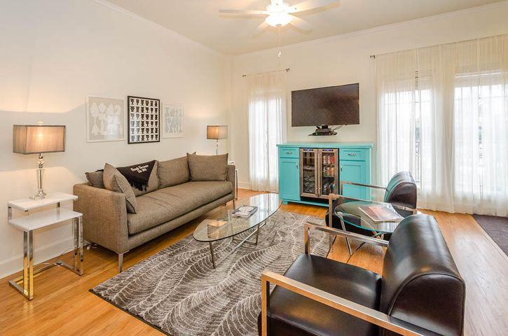Large living area with wine cooler