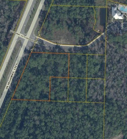 Approximately 2.0 acres, spread over 6 adjacent lots of record with 350ft of prime Hwy 331 Frontage. 2.94 acres sold collectively is priced at a total of $1,550,000.More land available.GIS maps show tiny portion of possible wetlands at the NW corner. Otherwise, shown as all uplands. All of lots 1,2,6,7,8,9 are shown to be in Flood Zone X, no flood insurance required.