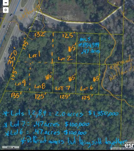 Approximately 2.94 acres, spread over 6 adjacent lots of record with 350ft of prime Hwy 331 Frontage. 2.94 acres sold collectively is priced at a total of $1,550,000. More land available. GIS maps show tiny portion of possible wetlands at the NW corner. Otherwise, shown as all uplands. All of lots 1,2,6,7,8,9 are shown to be in Flood Zone X, no flood insurance required.