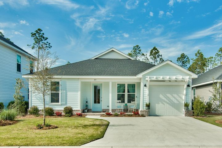 Welcome to Stillwater, the newest neighborhood within the Watersound Origins community. This lovely Florida Cottage features 2 bedrooms, 2 bathrooms and a bonus room for an office or nursery.  The interior boasts 9' ceilings, quartz countertops in the kitchen & bathrooms, stainless steel appliances, & luxury vinyl plank flooring throughout. Upon entering you are greeted with a spacious open floor plan. The living area is vibrant with tons of natural light as well as recessed lighting which gives the area a nice glow. The beautiful wood-look luxury vinyl plank flooring immediately catches your eye as it leads you into the kitchen & dining areas. The open dining area is conveniently just off the kitchen & offers plenty of space for family & friends to gather with overflow seating at the breakfast bar. The dreamy kitchen features quartz countertops and breakfast bar, charming subway tile backsplash, recessed lighting, stainless steel appliances, ample cabinets and pantry space. The spacious master bedroom features windows overlooking the fenced in back yard which offers great natural light, recessed lighting, luxury vinyl plank flooring, and an en suite master bath. The elegant master bath features a double vanity with quartz countertops, gorgeous walk-in tiled shower, and recessed lighting. The additional bedroom is plenty spacious and perfect for your guest to have their own private oasis. The guest bathroom offers a shower/tub combo with tile surround and vanity with quartz countertops. Just past the kitchen and full-size laundry closet, is the door leading to the open back patio. Relax on the patio and enjoy the Florida sunshine! The spacious fenced-in back yard is private and perfect for entertaining family and friends while the kids and pets play.  Watersound Origins is a wonderful community full of top-notch amenities including the Village Commons pool and fitness center, miles of nature trails, dock access to Lake Powell, unlimited golf and more! You will be wi