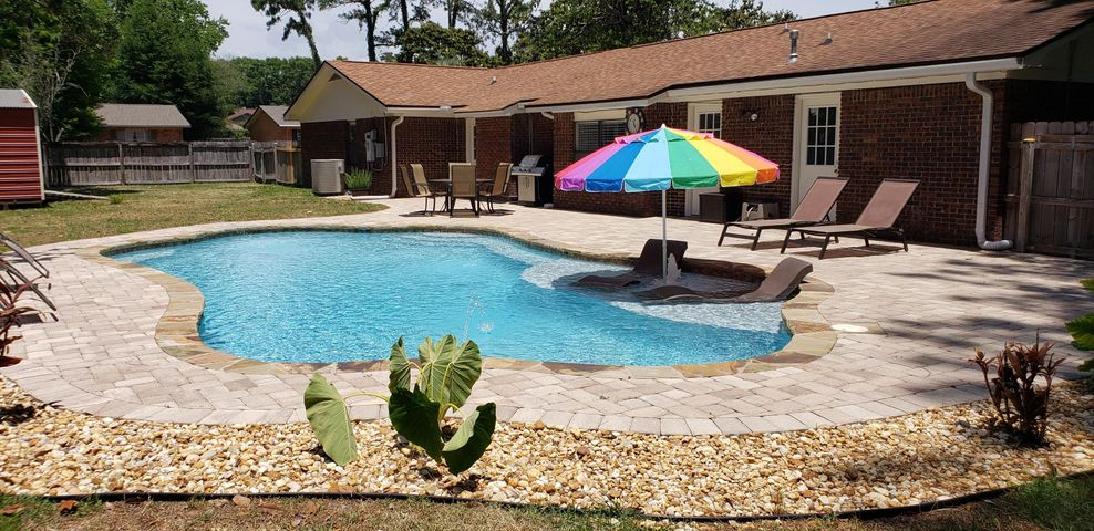 Landscaping around pool