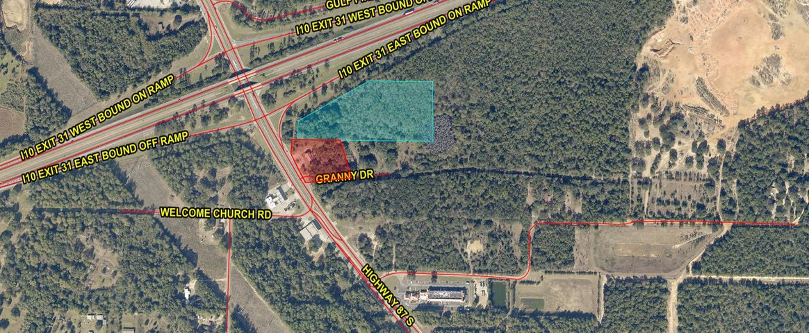 Great development opportunity, 8 parcels totaling 221.18 acres located on Hwy 87S and I-10 in Milton.
