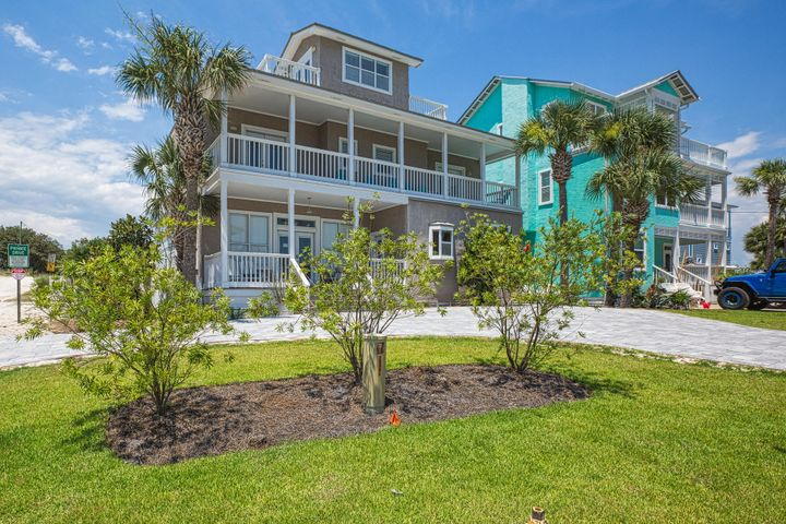 Back on The Market! Remodeled bath, new hurricane impact French doors on 3rd floor, new balcony rails, fresh paint in 2 bedrooms, new carpet, new bedding and Views & more Views! This home is within a few feet of the Gulf and Eastern Lake. Imagine watching the sunrise & the sunset from one of the numerous balconies. Great rental but would also make a comfortable 2nd home. 3 BR/ 3.5 BA, fully furnished. Both upstairs bedrooms have access to the front balcony. Sleeping loft has both east & west balconies. Stove & refrigerator one year old. One A/C unit replaced 2019. Plenty of parking with the new pavers. Back yard patio is the perfect spot for grilling & chilling. No HOA. Buyer to verify all dimensions.