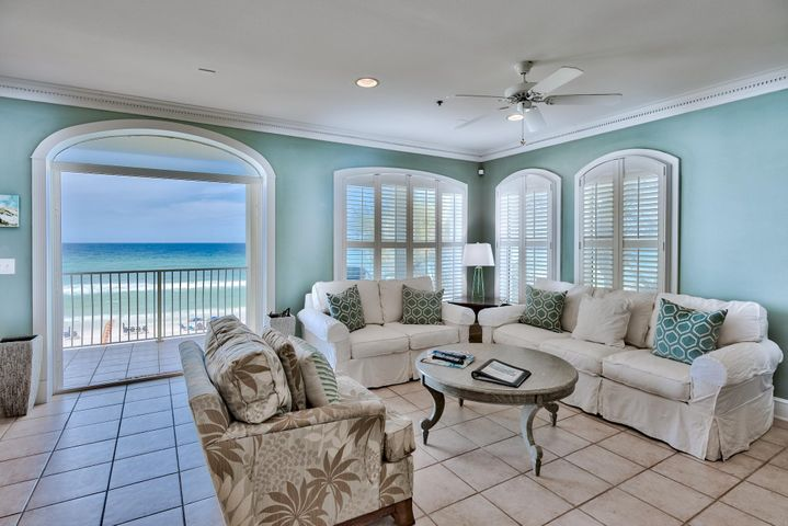 A rare opportunity to own at the Villas at Santa Rosa Beach! Take in the breathtaking gulf views from the large patio of this 2nd floor unit as well as the open living/dining/kitchen area. The beautifully updated kitchen has an island which flows into the dining and living area. Enjoy the gas fireplace on some of the chilly winter days or hang out by the gulf front pool on the hot summer days. This unit is well equipped for a vacation rental or personal getaway with 3 bedrooms and 3 baths. Villas at Santa Rosa Beach is conveniently located across from Gulf Place and Shunk Gulleys. Enjoy the ease of shopping and dining as well as entertainment events on the lawn at Gulf Place.
