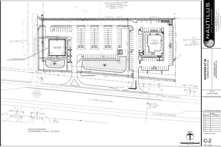 Great business location in a busy, growing area with high visibility on Highway 98. Property is on the the western portion of the property. See property sketch in the documents tab, this is mainly to discuss the potential use of the property. This parcel is perfect for 8,000 to 30,000 sq. ft. or more office building, retail space, or restaurant.Owner/managing member of Hunters Road, LLC is a licensed realtor in the state of Florida and developer of 30 plus years. Owner is willing to assist buyer in obtaining their development order and price includes all D.E.P., any Army Corps or water management permits as part of the sale.