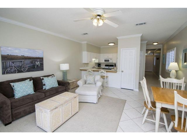 Ground floor corner unit (Windows!) features 1 bedroom with built in bunks and 2 full baths. Gulfside in a Gulf Front complex. Conveniently located in Seagrove Beach close to restaurants, shopping and Seaside. Personal wall hangings, patio items, living room white swivel chair and TV cabinet/contents are excluded. Room measurements and square footage is approximate and should be verified by buyer.