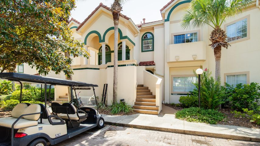 Awesome location and value! With 2,230 square feet, this villa is one of the largest 4BR-4BA properties on the beach side of Sandestin. The location is perfect - situated alongside the Baytowne Golf Course and right across the street from the seasonally heated Tivoli swimming pool. A short stroll takes you straight to the beach. Soaring ceilings and expansive windows allow floods of sunlight. Spacious bedrooms, bathrooms and plenty of closet space make living easy. The living area offers direct access through French doors to a screened balcony overlooking the Baytowne Golf Course. Other features- full size laundry closet, large outdoor owner's closet. This property is on the Beach Blue Rental Program with annual gross income of $55K.  With a little updating, the property has potential to generate $65K-$75K. The property will convey furnished. The golf cart and the electronic lock on the front door are excluded and do not convey.