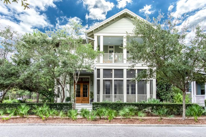 Situated on a corner lot, and overlooking a lovely pocket park, this home is conveniently located in Camp District of beautiful Watercolor Resort. This five-bedroom plus bunk room, 4.5 bath home was built in 2014 by Boyd Martin offers 3,114 SF of finished space and almost 1,000 SF of porches. Upon entering the home, you will love the spacious open-concept design, abundant windows, 12ft ceilings and a front and side screened in porch which add to the indoor living space. Special care was taken to select the interior finishes which include beautiful reclaimed floors throughout, door frames and main wall in downstairs master bedroom all from a Tobacco factory, marble kitchen countertops, custom cabinetry, solid core interior doors, 2 master suites, 12 ft ceilings on the 1st floor, 11ft.. ceilings on the 2nd floor and so much more. Five bedrooms include two master suites with spa like master-baths, one on the first floor, and the other on the second floor, two additional guest bedrooms plus a bunk room that can easily be converted to a second floor living space and an office. The home offers ample storage, ample attic storage, tankless hot water heater and hurricane-rated windows, and doors.  Plenty of room to add a private pool.  Site-plan options for adding a private pool and firepit area are available upon request.  **The Watercolor Amenity Assessment for this home has been PAID in full.  Located on 499 acres in the renowned South Walton Beaches, Watercolor was created with families in mind and offers the charm of small town life. Watercolor Resort is tucked between the beautiful beaches of the Emerald Coast and Western Lake, a natural 220-acre coastal dune lake. Watercolor is rich in natural beauty and offers exceptional community amenities which include a new homeowner owned gulf front beach club, featuring three pools, a full-service restaurant, new restrooms and easy beach-to-pool access. The recently updated Camp Watercolor offers a lazy river and slide, multipl