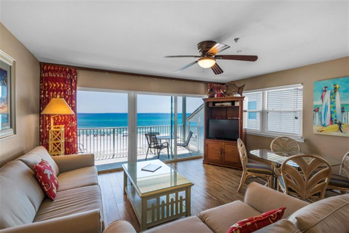 Here is your chance to own a GULF FRONT condo in Seagrove Beach. Featuring amazing gulf views, this fully furnished, one bedroom, one bath condo with built in hall bunks and sleeper sofa, would make the perfect home or investment property.  This unit features an open concept living, dining & kitchen area with incredible views of the Gulf of Mexico.  Your spacious private deck is the perfect place to sit back with a cup of coffee or glass of wine & enjoy the view. Commodore's Retreat is a small, 24-unit development in Seagrove Beach, located next to Eastern Lake.  Just steps to the beach, this condo has everything you need to enjoy life on 30A. Bike to Seaside for lunch & shopping, kayak in the Gulf of Mexico or Eastern Lake or relax on the balcony listening to waves, this unit has it all! This unit has great rental history and many repeat guests, projections ranging from $45k- $60k.   Amenities include a pool, private beach access, one unassigned covered parking space and private storage unit. **Buyer is responsible for personally verifying details about this property. All information contained on this listing is believed to be accurate but not guaranteed.***