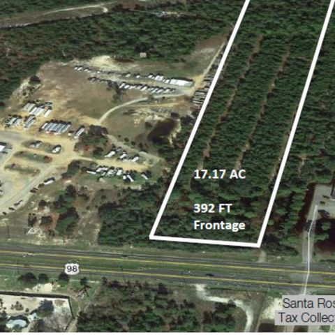 17.17 AC Land tract for sale in rapidly developing corridor. The property enjoys maximum exposure on HWY 98 and is in a determined path of continued growth.The property is surrounded by retail Support Industry, single-family housing, and several planned Multi-Family developmentsHighlights:392 Ft Frontage on U.S. HWY 98/Gulf Breeze Pkwy.32,500 CPD 2019Median Cut and Turn Lane are In PlaceAssemblage Opportunity with adjoining 66 Acres For Sale