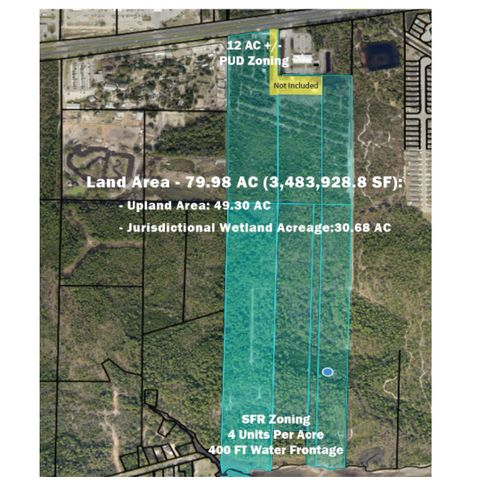 Highly desirable, mixed-use land tract, perfect for multi-use development. The property is a 79.98-acre tract under two zoning districts. Approximately, 12 acres fronts Gulf Breeze Pkwy and is zoned PBD (Planned Business District). This portion of the property enjoys maximum exposure on a heavy traffic corridor and is well suited for commercial development. The remaining 68 acres is zoned R-1 (SF residential) and allows for a density of up to 4 units per acre. The property has a level topography. The location is in an area of increasing home values, and strong continued demand for newly built homes. The property enjoys over 400 FT of frontage on Santa Rosa Sound- noted for its boating, world-class fishing, and breathtaking views.  Upland: 49.30Jurisdictional wetlands 30.68 Large rectangular in shape land tract stretching from HWY 98 all the way to Santa Rosa Sound. The property is level to slightly rolling with 350 ft of Frontage on HWY 98 and 400 FT of Water Frontage   20-2S-27-0000-01201-0000 15.29 AC 20-2S-27-0000-00303-0000 7.00 AC 20-2S-27-0000-00301-0000 6.39 AC 29-2S-27-0000-00200-0000 20.85 AC 29-2S-27-0000-01900-0000 13.71 AC 29-2S-27-0000-00101-0000 12.4 AC 29-2S-27-0000-01800-0000 4.27 Ac