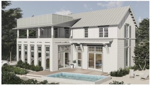 """We are excited to offer you this new construction, fully furnished, south of 30A, beach estate that is located in the #1 ranked Florida's beaches, Grayton Beach. It is scheduled to be complete November 2021. This unique 4 bedroom, 4.5 bath is designed for entertaining yet offer the comforts of everyday living. This two story beauty has 12ft. ceilings on the main floor, plenty of parking from both streets, fenced in yard, high end appliances, wine/beverage center, heated pool, outdoor storage and shower, beach cruiser bike parking area, grilling area, rooftop balcony & second story porch. The location is in the center of it all & is surrounded by a Walton County natural landscaped buffer zone. Walk to Grayton Beaches, Red Bar, AJ's, Hibiscus Cafe', Grayton Corners, Chiringo and more. This is a great investment or residential property. We can provide you with a rental projection from Coastal Blue Vacations.It is being sold fully furnished and professionally designed by Eiland and Rice Interiors. The interior of the home will be painted in Sherman Williams Alabaster and the exterior will be painted in light soft coastal hues.   The first floor space has a big open living concept with separate formal Dining Room overlooking the pool. The house is accented with Coastal shiplap details in the stairwells and main living area wall. There is gorgeous lightly stained wide plank, white oak hardwood flooring on the first and second floors. The amazing Chef's kitchen has a gorgeous professional 36"""" Viking range and professional, stainless steel built in pro frigidaire refrigerator and freezer, built in Viking convection microwave, under counter beverage refrigeration center, Viking dishwasher, hand glazed ceramic tile backsplash, shaker style cabinets, PALECEK designer island pendant lighting and Calacatta Quartz Countertops. The first floor master suite has a large his and his walk in closet. The spa like master bath has a separate shower, free standing tub, double vanity and m"""