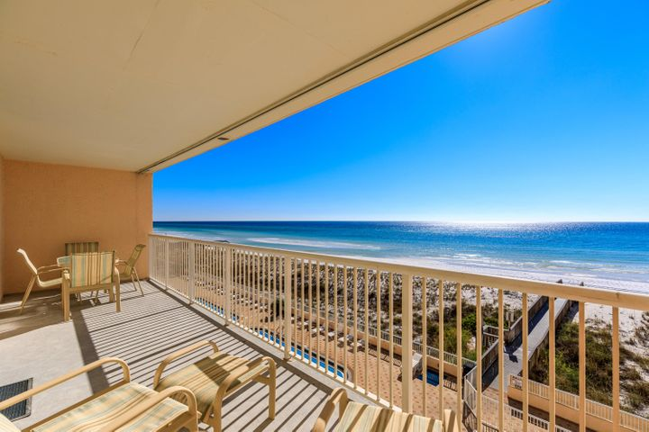 Large Balcony overlooking the Gulf of Mexico and the pool below with deeded beach access to the Gulf of Mexico