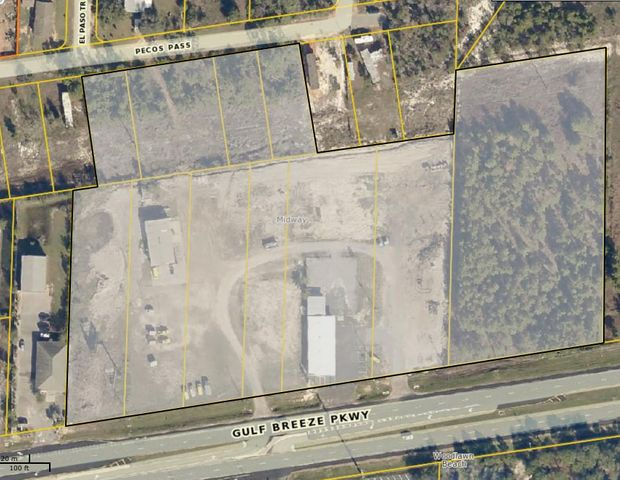 REDUCED! This 10.4 Acre site is zoned Highway Commercial and lies between Gulf Breeze and Navarre Fl. The property has 920 (+/-) front feet on Hwy 98 and traffic counts of 33,000 cars daily. The property has been partially cleared/ filled, has several DOT curb cuts and has full access from east and west bound traffic. There are currently two office/ warehouse buildings with year to year tenants, Seller is willing to divide.