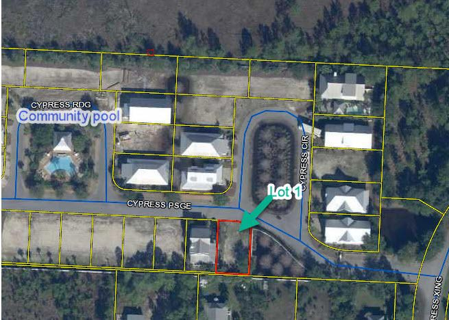Located in gated community of Cypress Dunes. This Beautiful lot is cleared and ready to build. The lot is conveniently located at the front of the community with green space located beside it and close to the Phase II pool. Cypress Dunes has one of the most amazing community pools on 30A along with Fitness Center, Tennis Courts, Cypress Ponds and Nature Trails.