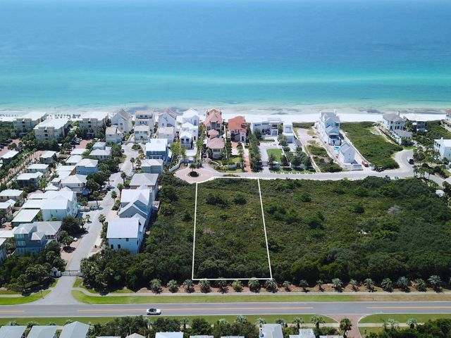 This 120-foot wide 2nd-row double lot in the gated, Gulf-front community of Paradise by the Sea offers a homesite just under an acre south of Scenic Highway 30A. Its extraordinary depth enables a home, carriage house, a pool to be built with unique possibilities for design and layout. Alys Beach is just west of this location, while more shopping, dining, and seasonal entertainment at Town Center in Rosemary Beach is just a short walk or bike ride away. Paradise by the Sea is comprised of only 51 lots with over 1,700 feet of beach frontage. There is no build-out time requirement, so lot owners may build at their leisure. Come enjoy privacy and serenity behind the gates of this exclusive neighborhood on the eastern end of Scenic Highway 30A. The Northwest Florida Beaches International Airport is approximately a 30-minute drive from this location.