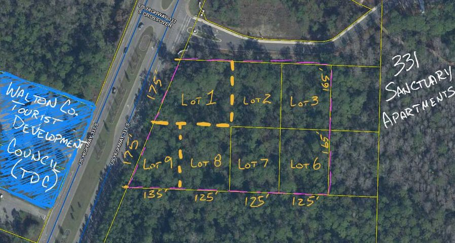 Future Land Use is shown as Neighborhood Infill, allowing 'Density up to 8 dwelling units per acre.' Approximately 2.0 acres, spread over 4 adjacent lots of record with 350ft of prime Hwy 331 Frontage. Buy More! 3.41 acres sold collectively is priced at a total of $1,550,000.More land available.GIS maps show tiny portion of possible wetlands at the NW corner. Otherwise, shown as all uplands.