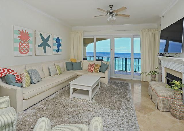 Deluxe fourth floor, 4 bedroom and 3 bath is situated perfectly on the top floor unit at the prestigious property of Adagio! Greater than 2,200 square feet of seaside extravagance with a toes-in-the-sand locality on the renowned beaches of 30A. This beautifully laid out condo is one of a kind, which is optimum for a primary, second home or vacation rental. Main features include a full master suite, double vanity, full size laundry room, travertine throughout main living areas, crown moulding accents, a gourmet kitchen that has granite countertops, gas stove, and Viking appliances. Enjoy an expansive balcony which offers the best Gulf views, breezes, and sunsets from all angles. Come enjoy this gated gulf front community which features: a gym, community room, hot tubs, two resort style pools, one which is a heated infinity edge and the other is 8,000 sq ft for all to enjoy!