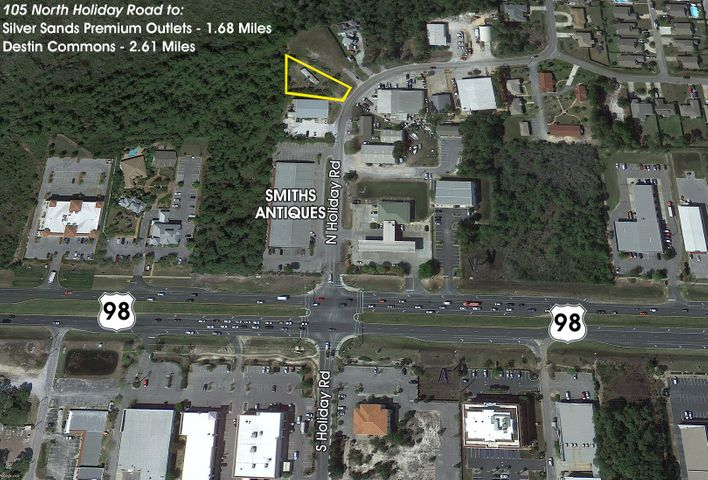 Subject site is located just north of Smith Antiques and Antiques on Holiday just off Hwy 98 at traffic light on Highway 98. Walton County, Florida Land Use / Zoning Classification is Coastal Center.  Buyer must verify all information and specifications.
