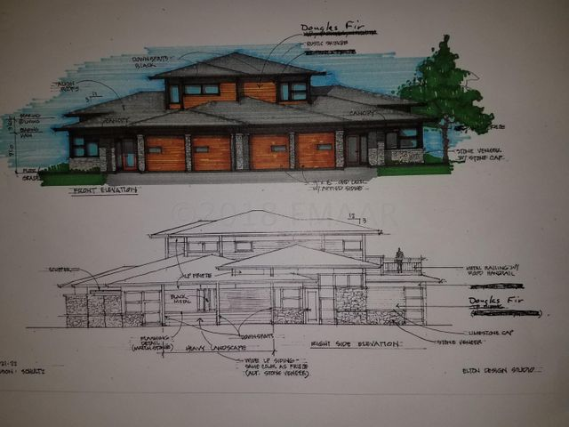 Colored front elevation and black/white back elevation