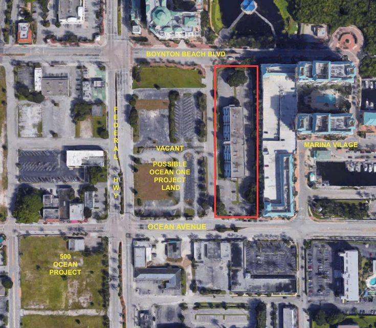 COULD BE COMBINED WITH THE ADJACENT VACANT LOT (OLD BANK OF AMERICA LOT), NOT INCLUDED WITH THIS LISTING, FOR A TOTAL OF APPROX. 6 ACRES.  IN HIGH DENSITY CRA REDEVELOPMENT AREA OF 100 UNITS PER ACRE.  SEE http://catchboynton.com/