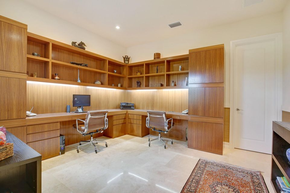 Office with Custom Hardwood Built-Ins