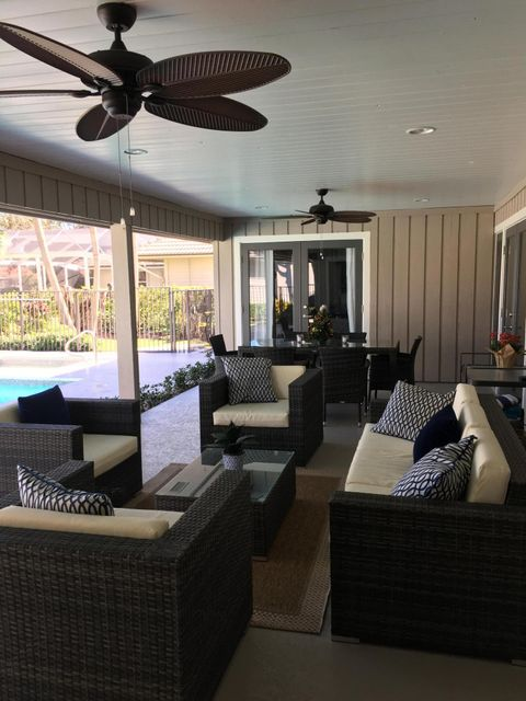 Large Covered Patio with Ceiling Fans