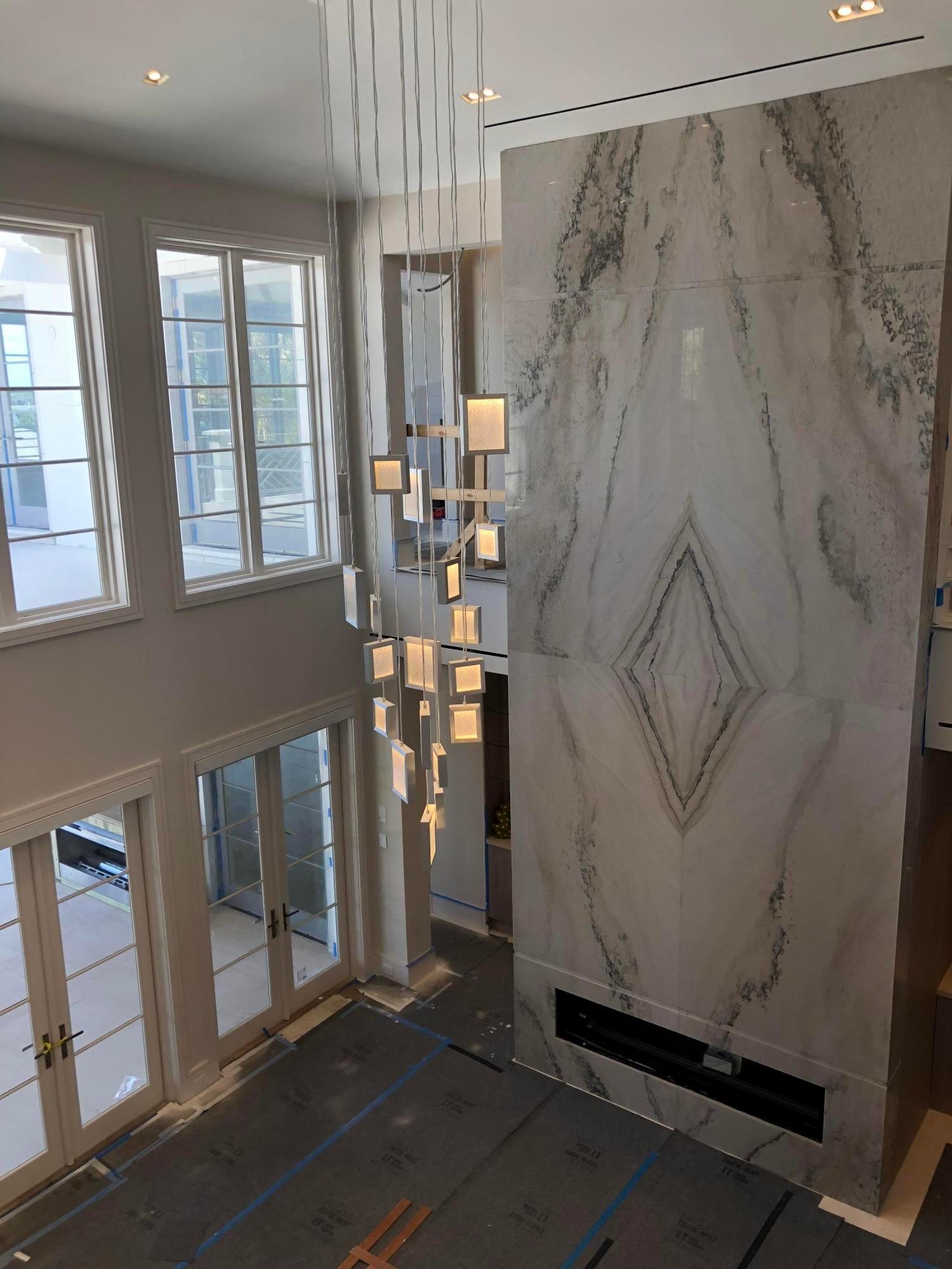 20 foot tall quartzite fireplace